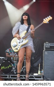 Chicago, IL/USA: 7/21/19: Laura Lee,  performs with the group Khruangbin. The band's sound has been described as soul, surf, psychedelic, and funk.