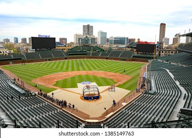 CHICAGO, IL/USA - APRIL 24, 2019:  An empty Wrigley Field before a game, with  infield maintenance being done.