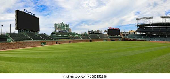 CHICAGO, IL/USA - APRIL 24, 2019:  Inside the Wrigley Field baseball stadium, actually on the grass before a game.