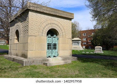 CHICAGO, IL/USA - APRIL 24, 2019:  The Getty Tomb has been said to be the most significant piece of architecture in Graceland cemetery, designed by Louis Sullivan in 1890.