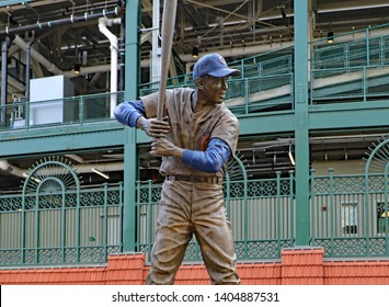 CHICAGO, IL/USA - APRIL 24, 2019:  A statue of Ernie Banks, Mr. Cubs, at Wrigley Field in Chicago, home of the Chicago Cubs.