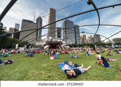 Chicago, IL/USA - circa July 2015: People at Jay Pritzker Pavilion at Millennium Park in Chicago, Illinois