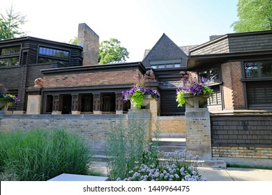 CHICAGO, IL/USA - JULY 13, 2019: Frank Lloyd Wright's studio and residence on Oak Park, a suburb of Chicago.