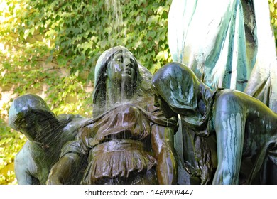CHICAGO, IL/USA - JULY 18, 2018: Fountain of the Great Lakes, or Spirit of the Great Lakes Fountain, is an allegorical sculpture by Lorado Taft at the Art Institute of Chicago.