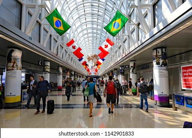 CHICAGO, IL/USA - JULY 24, 2018:  Terminal 3 at O'Hare airport in Chicago, Illinois.