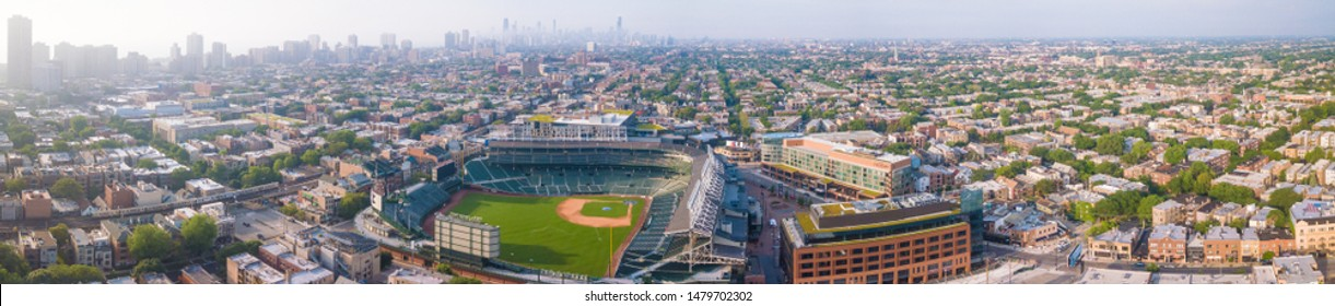 Chicago, IL/USA July 6, 2019 Wrigley Field Aerial Summer Morning Beautiful View