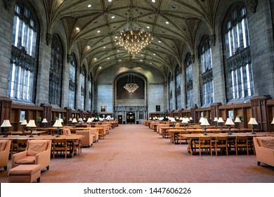 CHICAGO, IL/USA - JULY 9, 2019: The William Rainey Harper Memorial Library on the University of Chicago campus.