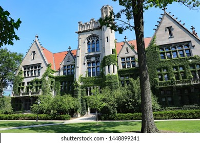 CHICAGO, IL/USA - JULY 9, 2019: Ivy clad halls of the University of Chicago campus.