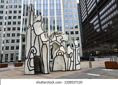 CHICAGO, IL/USA - MARCH 3, 2019:  The Monument and the Beast sculpture by the Thompson Center in downtown Chicago, in the Loop.