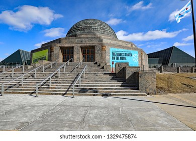 CHICAGO, IL/USA - MARCH 4, 2019:  The Adler Planetarium on the Museum Campus in Chicago.