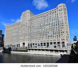 CHICAGO, IL/USA - MARCH 4, 2019:  The amazing Merchandise Mart in downtown Chicago, on the Chicago River.
