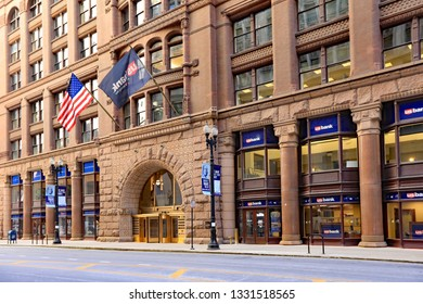 CHICAGO, IL/USA - MARCH 4, 2019:  The exterior of the Rookery Building in downtown Chicago at Lasalle and Adams streets.