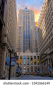 CHICAGO, IL/USA - MARCH 4, 2019:  The Chicago Board of Trade in downtown Chicago in the Loop.