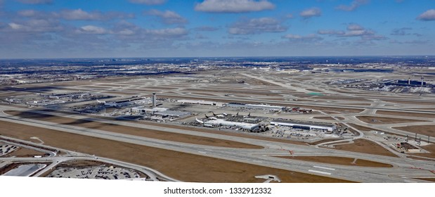 CHICAGO, IL/USA - MARCH 5, 2019:  Aerial view of O'Hare airport in Chicago, with freight and passenger terminals.