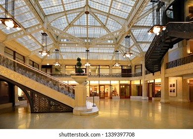 CHICAGO. IL/USA - MARCH 5, 2019:  The Rookery Building in the Loop in downtown Chicago.