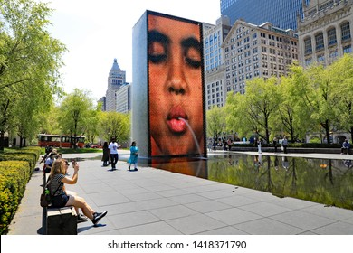 CHICAGO, IL/USA - MAY 14, 2019:  The Crown Fountain in Millennial Park, in downtown Chicago.
