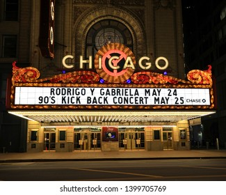 CHICAGO, IL/USA - MAY 15, 2019:  The marquee on the Chicago Theater in downtown Chicago in the Loop on State Street.