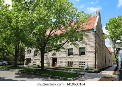 CHICAGO, IL/USA - MAY 15, 2019:  The Glessner House in Chicago, on the south side, where many early Chicago mansions were built before automobiles were popular.