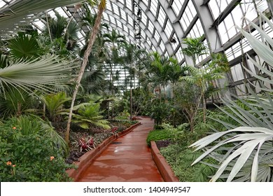 CHICAGO, IL/USA - MAY 17, 2019:  The Garfield Park Conservatory in Chicago, near the Green Line train station, CTA.
