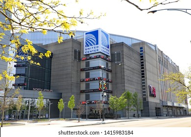 CHICAGO, IL/USA - MAY 17, 2019:  The United Center in Chicago, a sports venue for hockey and basketball as well as concerts.
