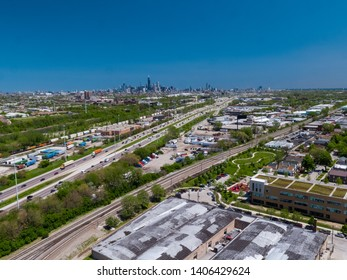 Chicago Industrial Skyline Aerial, From South Side Next to I-55 Expressway, Highway on a clear day