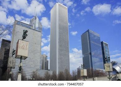 Chicago, JAN 31: The Chicago skyline on JAN 31, 2012 at Millennium Park, Chicago, Illinois, United States