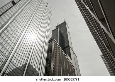 CHICAGO - JULY 16: Isolated image of the Willis Tower (formerly known as the Sears Tower). The name change was announced on July 16, 2013 in Chicago to great protest.