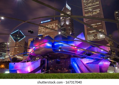 CHICAGO - JULY 19: Jay Pritzker Pavilion in Millennium Park at night on July 19, 2013 in Chicago. Outdoor Amphitheater in Downtown Chicago