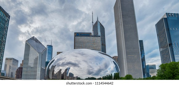 CHICAGO - JULY 4 2017: Cloud Gate in Millennium Park in Chicago. The Cloud Gate is a major tourist attraction usually called: The bean.