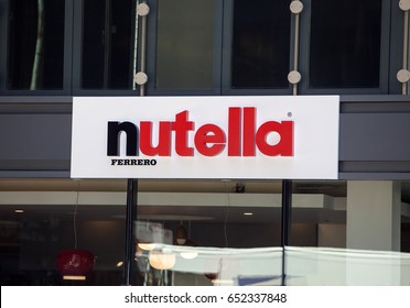CHICAGO - June 1, 2017: A view of the facade of the Nutella cafe. A new Nutella-themed cafe selling versions of their famous hazelnut products.