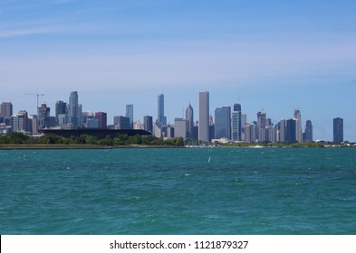 CHICAGO - JUNE 2018: Lake Michigan and Chicago skyline seen from the south side in June 2018 in Chicago. McCormick Place convention center can be seen in the foreground.