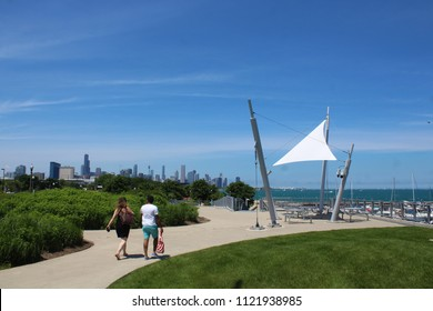 CHICAGO - JUNE 2018: Chicago skyline and 31st Street harbor seen from south side near Burnham Wildlife Corridor hiking trail in June 2018 in Chicago. Willis Tower is seen on the left.
