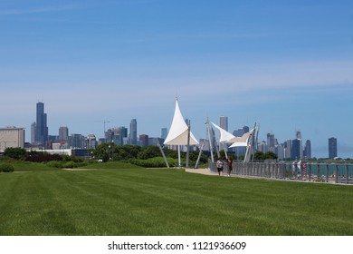 CHICAGO - JUNE 2018: Chicago skyline and Lake Michigan seen from south side at 31st  Street near Burnham Wildlife Corridor hiking trail in June 2018 in Chicago. Willis Tower is seen on the left.