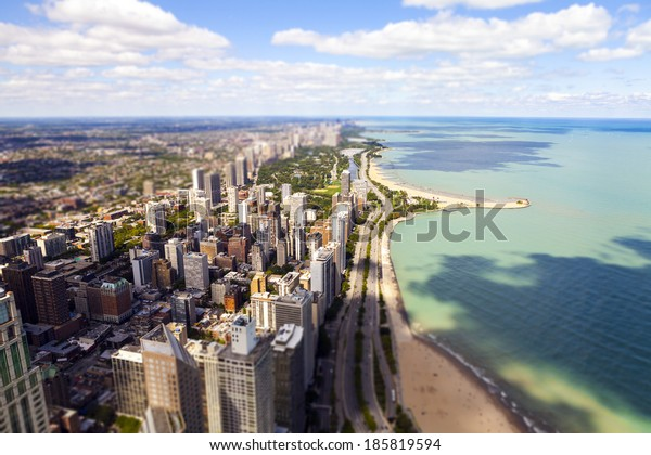 Chicago Lake Shore Drive Aerial View (Tilt Shift Effect)