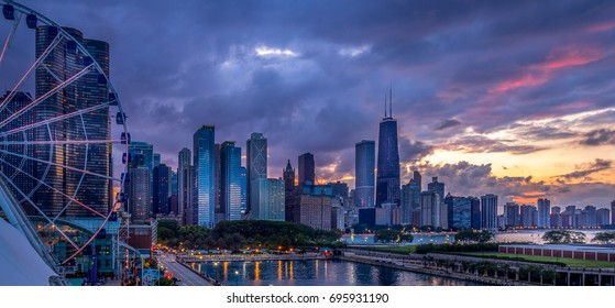 Chicago lakefront at sunset - from Navy Pier