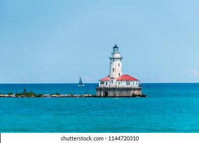 Chicago Lighthouse on Lake Michigan