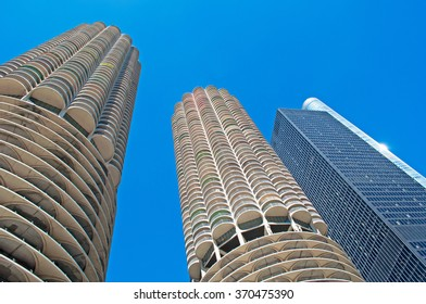 Chicago: looking up at Marina City building from a canal cruise on Chicago River on September 22, 2014. Marina City complex, 587 feet high, consists of two corncob shaped buildings