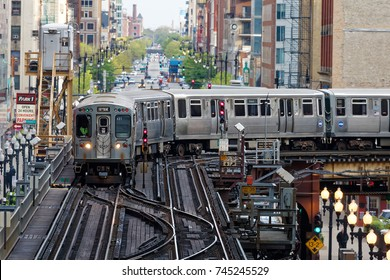 CHICAGO, L,USA-May 9,2017: Train running at loop area in CHICAGO city