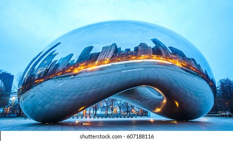 CHICAGO - MARCH 6 2017 : View of the Cloud Gate sculpture at Millennium Park,  The sculpture is nicknamed The Bean , designed by British artist Anish Kapoor.Chicago on March 6 2017