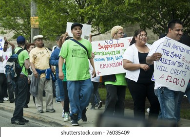 CHICAGO - MAY 1: Protest against the new law of illegal immigrants entering in Arizona. May 1, 2010 in Chicago, USA