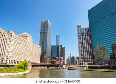 CHICAGO - MAY 12: Merchandise Mart and downtown Chicago on May 12, 2017