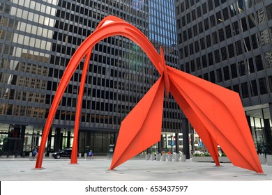 CHICAGO - MAY 29: Flamingo, in the Federal Plaza in Chicago, is shown here on May 29, 2016. The stabile was constructed by American sculptor Alexander Calder, under the Percent for Art program.