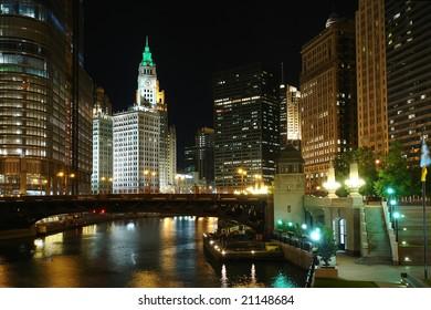 Chicago at night, IL, USA
