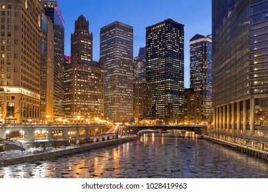 Chicago night river bridge buildings