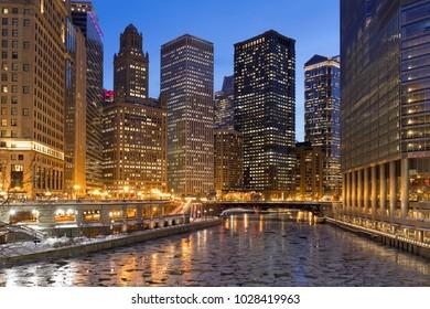 Chicago night river bridge buildings