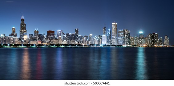 Chicago Night Skyline across Lake Michigan