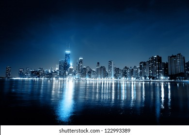 Chicago Night Skyline as Financial District