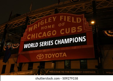 CHICAGO - NOVEMBER 3: The Wrigley Field sign on the night after the Cubs World Series Victory on November 3rd, 2016. The Cubs won the baseball World Series for the first time since 1908.