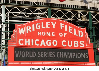 CHICAGO - OCTOBER 2016: Sign at Wrigley Field Announces Chicago Cubs as World Series Champions in October 2016 in Chicago.