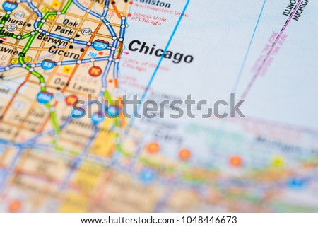 Chicago On Map Stock Photo (Edit Now) 1048446673 - Shutterstock on